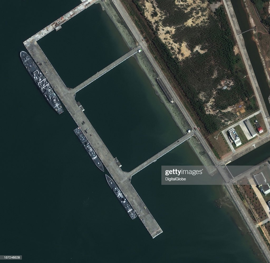 S 13th ESCORT FLEET, ZHANJIANG, CHINA-OCTOBER: This is a satellite image of a naval base near the city of Zhanjiang, China where ships from China's 13th Escort Fleet are preparing to head for Somali water where they will provide safe passage of ships for humanitarian aid.