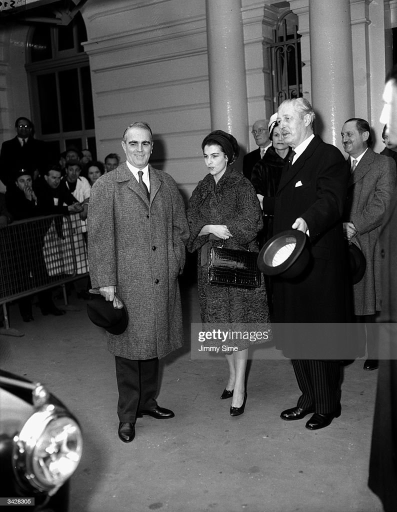 Greek Prime Minister Constantin Karamanlis with his wife and the British Prime Minister Harold McMillan arrive at Victoria, London.
