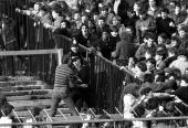 13th February 1982 Stamford Bridge London FA Cup Fifth Round Chelsea v Liverpool Police move in to try and restore order as trouble flares up on the...