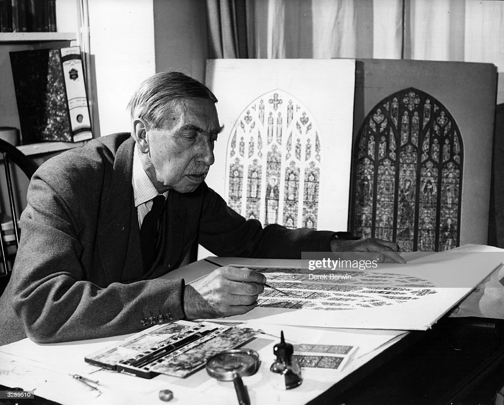 Mr E Liddall Armitage, chief designer with a British firm, works on designs for a new stained glass window for St Thomas's Episcopal Church on New York's Fifth Avenue.