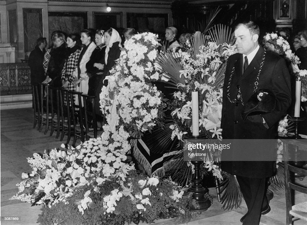 An impressive floral arrangement at the funeral of French fashion designer Coco Chanel. The funeral takes place in the Church of St Madeleine, Paris.
