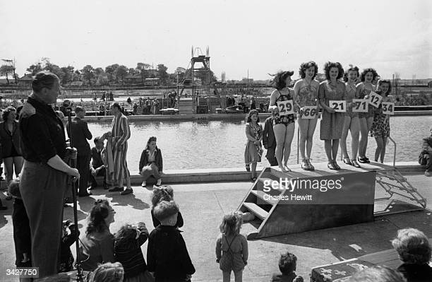 Contestants in a beauty contest at a Butlin's Holiday Camp Original Publication Picture Post 4136 Life In A Holiday Camp pub 1946