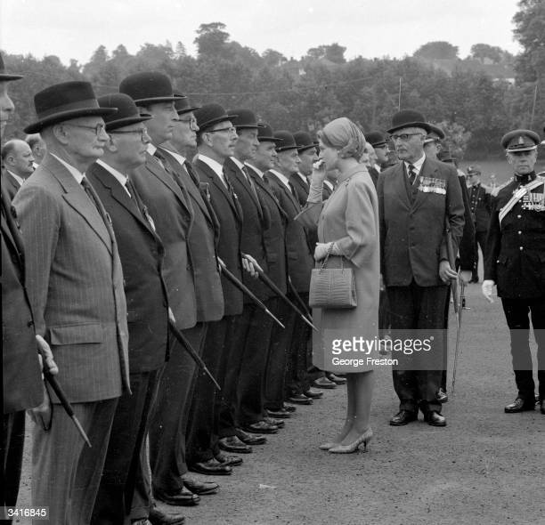 Princess Alexandra inspects the 'Old Comrades' at Maidstone during the ceremony to present a banner to the Kent and County of London Yeomanry