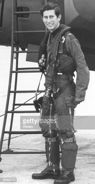 Charles Prince of Wales wearing a flying kit during a visit to RAF Wittering