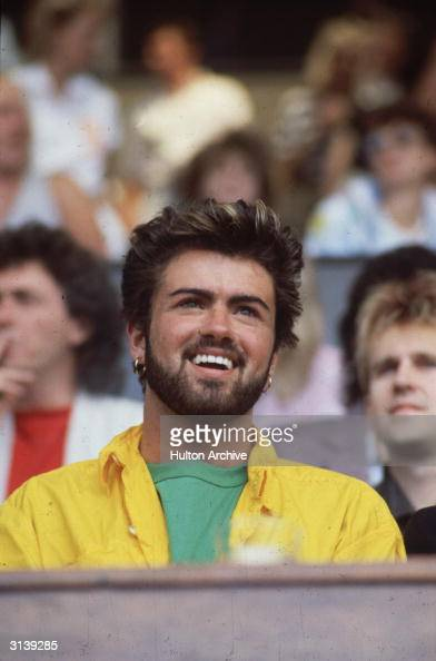British singer songwriter George Michael lead singer of the pop group Wham at the Live Aid Concert in Wembley Stadium London