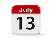 Calendar web button - The Thirteenth of July - Montenegro Statehood Day, three-dimensional rendering, 3D illustration