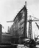 The bows of the new Cunard White Star liner '534' later the Queen Mary during its construction at the John Brown Co shipyard Clydebank