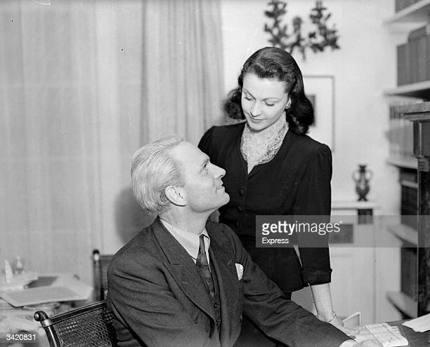 English actor Laurence Olivier with his wife the English actress Vivien Leigh
