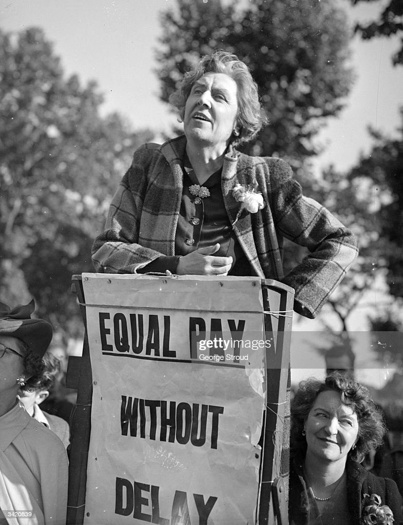 Sybil Morrison, a founder of the PPU (Peace Pledge Union) speaking at a meeting campaigning for equal pay for women.
