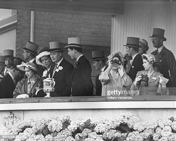 A Royal party watching the races at Ascot racecourse on Royal Hunt Cup Day Princess Margaret Katherine Duchess of Kent Henry Duke of Gloucester Queen...