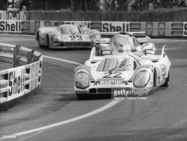 Helmut Marko and Gijs van Lennep pull into the lead in their Porsche 917 at Tertre Rouge during the 24 hour race at Le Mans