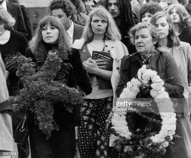 The widow of Blair Peach the New Zealander who was murdered by police in the antiNational Front riots in Southall in 1979 at the funeral procession...
