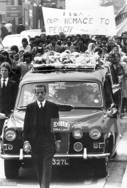Thousands of teachers from Southall attend the funeral of Blair Peach the New Zealander who was murdered by police in the antiNational Front riots in...