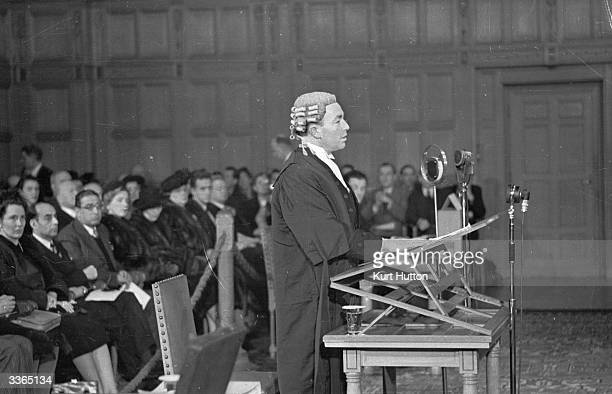 British politician and AttorneyGeneral Sir Hartley Shawcross at the International Court of Justice in the Peace Palace at the Hague in the...