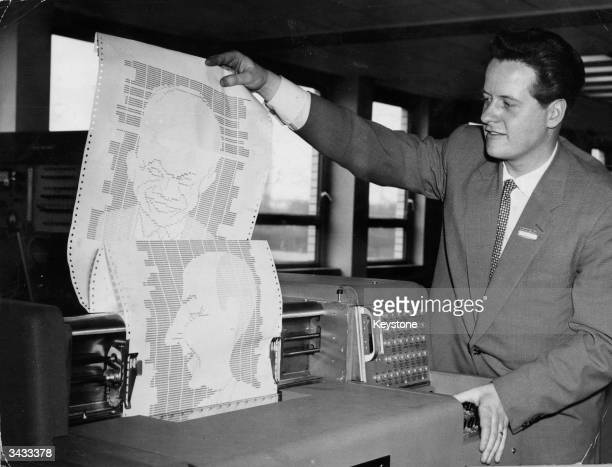 Caricatures of US statesmen Dwight Eisenhower and Adlai Stevenson printed by a Universal Automatic Computer