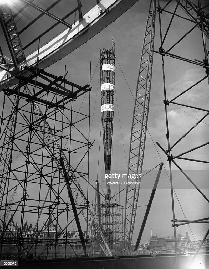 A half dismantled Skylon surrounded by scaffolding at the Festival Of Britain site on the South Bank.
