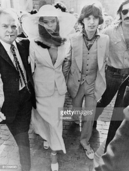 13th May 1971 British rock singer Mick Jagger and his new wife Bianca Jagger outside St Tropez Town Hall on their wedding day
