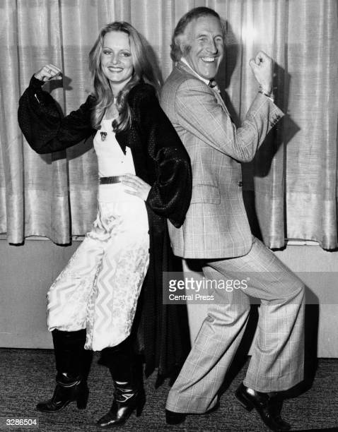 British model Twiggy with entertainer Bruce Forsyth who won the Schweppes Award for Show Business