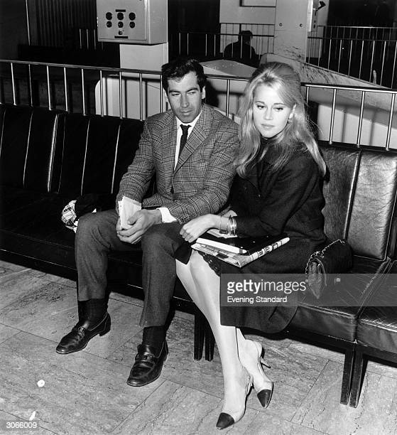 American actress Jane Fonda with her husband French film director Roger Vadim at London Airport