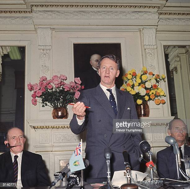 Rhodesian Prime Minister Ian Smith at a press conference in England