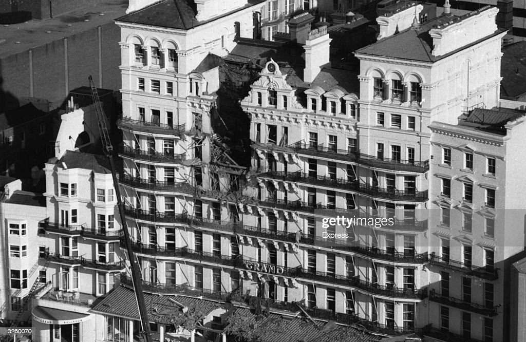 The Grand Hotel Brighton, soon after the IRA bombing during the Tory conference.