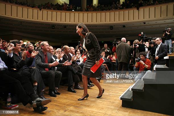13Th Rally Of Secretary Section Of The Socialist Party In Paris France On January 20 2008 Segolene Royal Franois Hollande Bertrand Delanoe Maison de...
