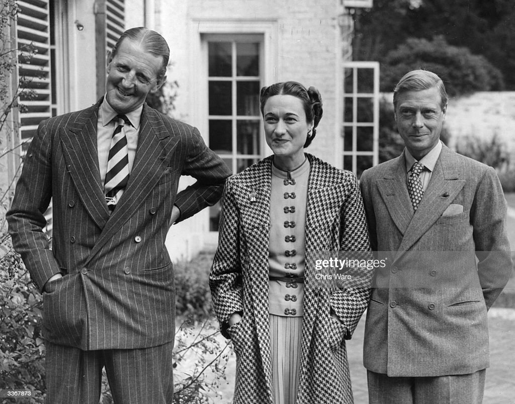 The Duke (1894 - 1972), Duchess (1896 - 1986) of Windsor and Major Edward Dudley Metcalfe (right), at Major Edward Dudley Metcalfe's country house, Coleman's Hatch, Ashdown Forest, Sussex.