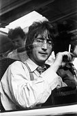 Beatle John Lennon during the making of 'The Magical Mystery Tour' in Devon