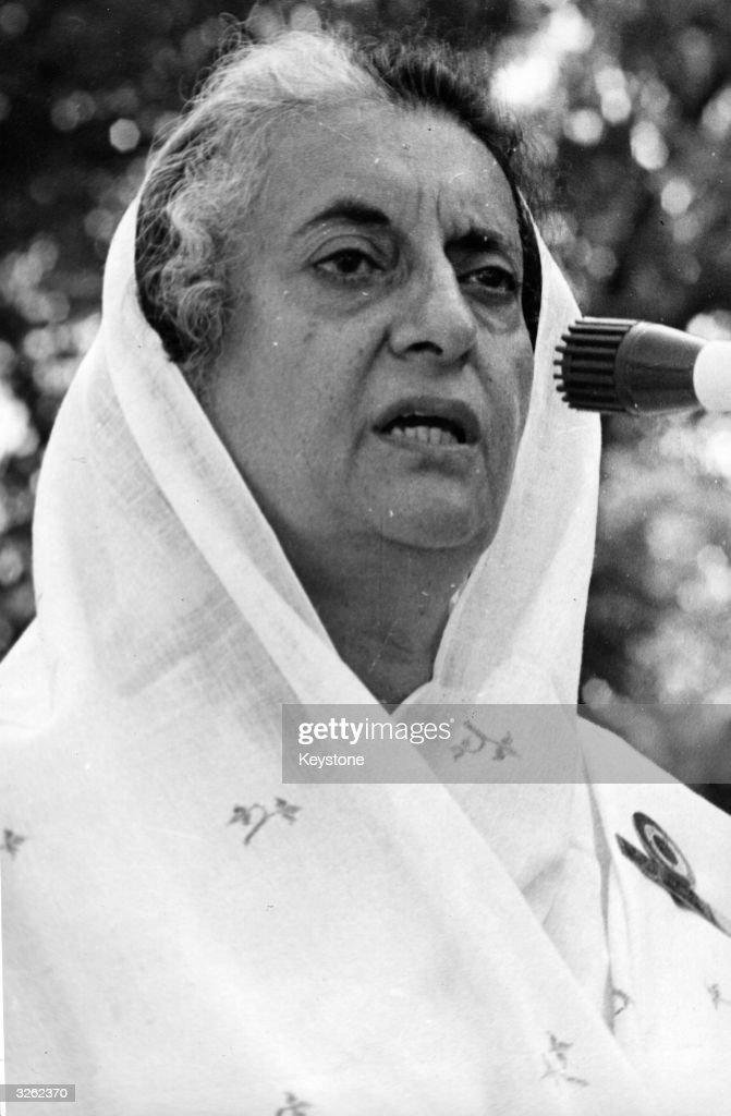 Indian Prime Minister Indira Gandhi addresses a meeting in New Delhi
