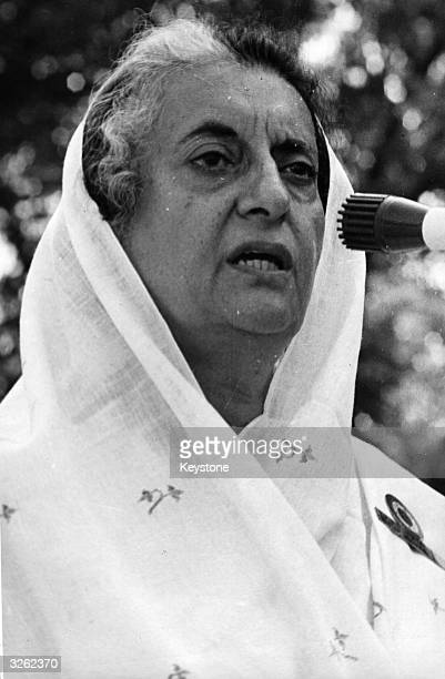 Indian Prime Minister Indira Gandhi addresses a meeting in New Delhi