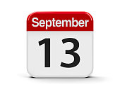 Calendar web button - The Thirteenth of September, three-dimensional rendering, 3D illustration
