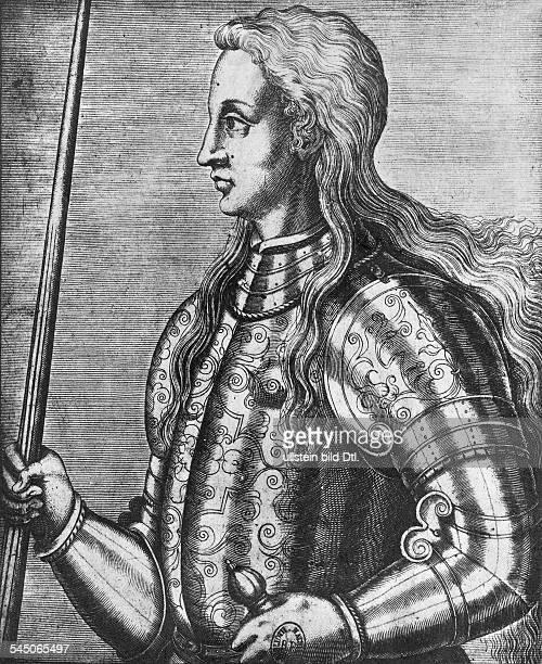 *1410/121431Nationalheldin FrankreichEine der frühesten Darstellungen derJohanna ein Stich von Andre Thevetaus dem Jahr 1525