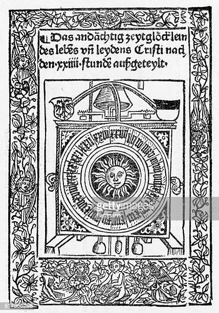 1493Medieval printed page showing round calendar with sun in the middle The calendar is enclosed in a box with a belltype apparatus German text...