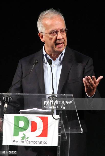 Italian former mayor of Rome Walter Veltroni during an event to celebrate 10th anniversary of Democratic Party at the Eliseos theatre in Rome Italy...