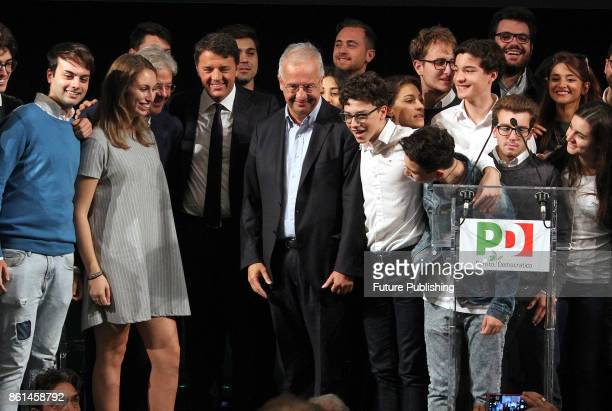 Italian Prime Minister Paolo Gentiloni former mayor of Rome Walter Veltroni and former prime minister Matteo Renzi during an event to celebrate 10th...