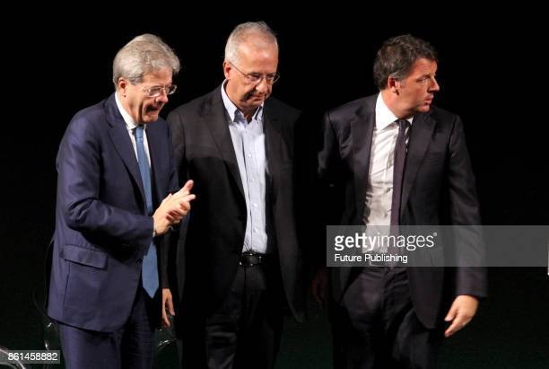 Italian Prime Minister Paolo Gentiloni talks former mayor of Rome Walter Veltroni and former prime minister Matteo Renzi during an event to celebrate...
