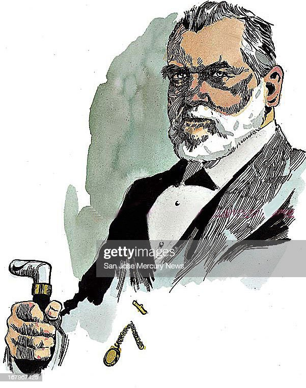 14p x 18p Jim Hummel color illustration of Leland Stanford, who came to California for golf rush, made his money as a merchant.