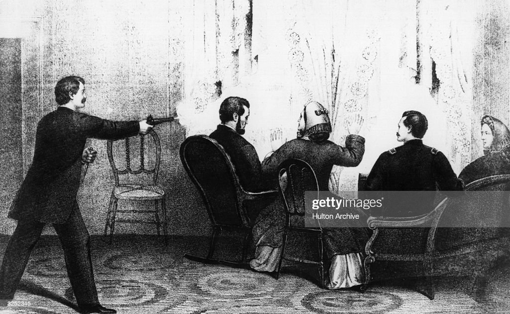 The assassination of Abraham Lincoln the 16th President of the United States of America who was shot by John Wilkes Booth To the right of Lincoln are...