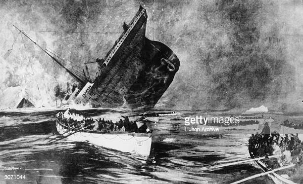 Survivors watch from the lifeboats as the illfated White Star liner the 'Titanic' plunges beneath the waves Original Publication Illustrated London...
