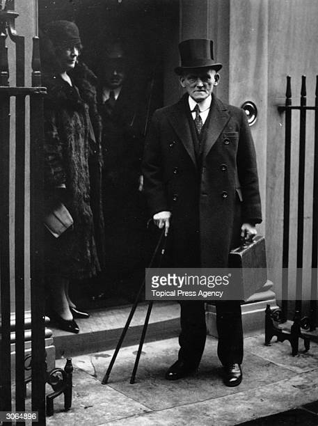 British Chancellor of the Exchequer Philip Snowden leaves Number 11 Downing Street London with the despatch box on his way to Parliament on the...