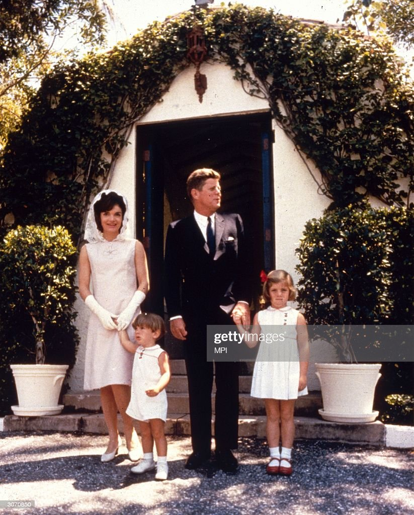 John Fitzgerald Kennedy (1917 - 1963), the 35th President of the United States, with his wife Jacqueline (1929 - 1994) and their children Caroline and John Jnr (1960 - 1999) on Easter Sunday at Palm Beach, Miami, Florida.