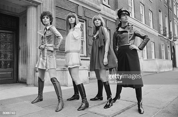 A collection of winter fashions by Ossie Clark and Alice Pollock on display in a London street From left to right Linda Keith wears 'Oz' a snakeskin...