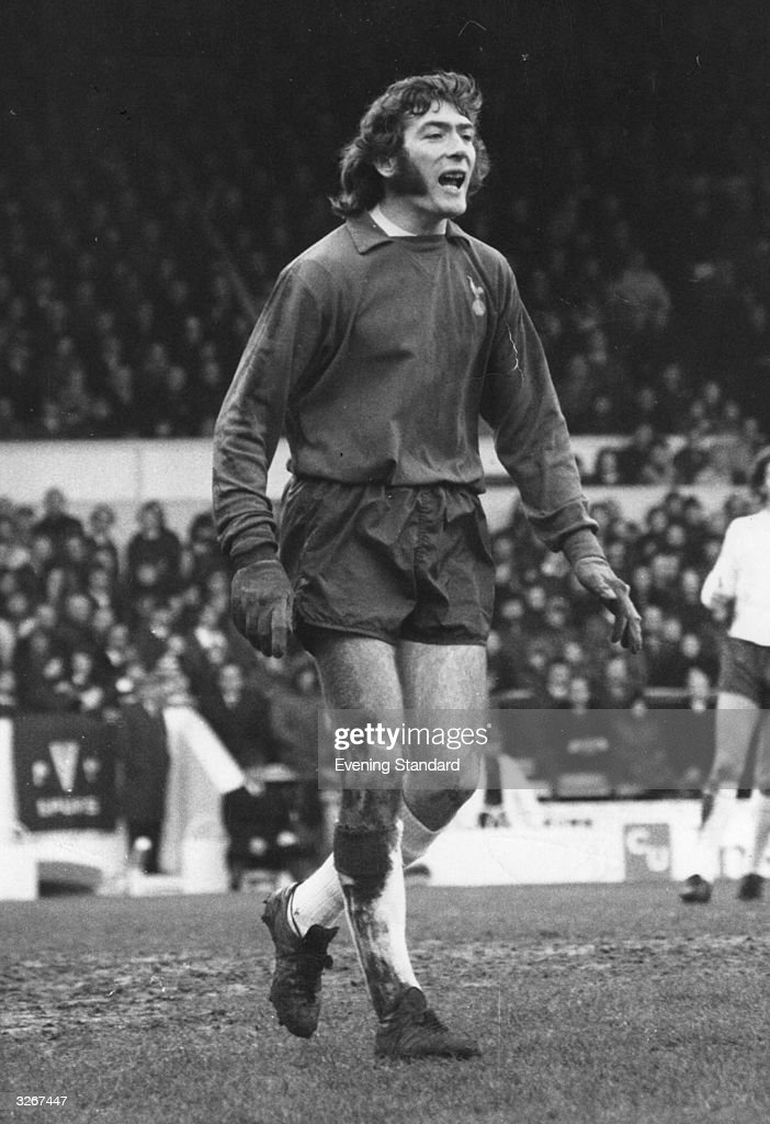 Irish footballer Pat Jennings, Tottenham Hotspur and Northern Ireland goalkeeper, roars encouragement to his team mates.