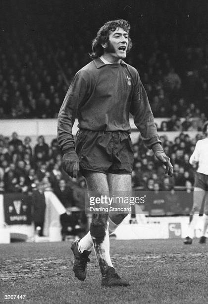 Irish footballer Pat Jennings Tottenham Hotspur and Northern Ireland goalkeeper roars encouragement to his team mates