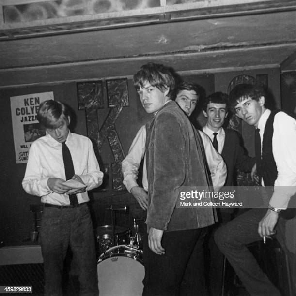 The Rolling Stones posed on stage at Studio 51 Club in Great Newport Street London on 14th April 1963 Left to right Brian Jones Mick Jagger Charlie...