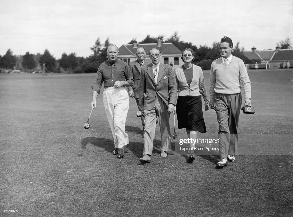 English-born American comedian and film star Bob Hope (1903 - 2003) playing on the King's course at Gleneagles Hotel. The Hotel has four golf courses including the famous King's course and the Queen's course, both designed by James Braid. Gleneagles Hotel has four golf courses including the famous King's course and the Queen's course, both designed by James Braid. The hotel is renowned for the beauty of its setting and Gleneagles is considered to have the finest inland golf course in Scotland.