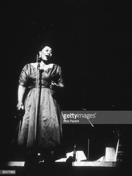 American jazz and pop singer Ella Fitzgerald performing on stage