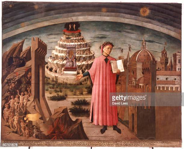 14th century Italian Renaissance poet Dante Alighieri holding his book DIVINE COMEDY against backdrop of Hell Purgatory Paradise in 1465 ptg by...