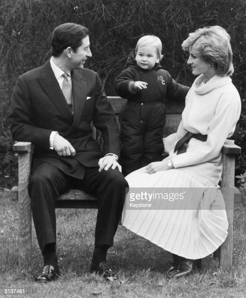 Charles and Diana the Prince and Princess of Wales with their firstborn son Prince William at Kensington Palace London