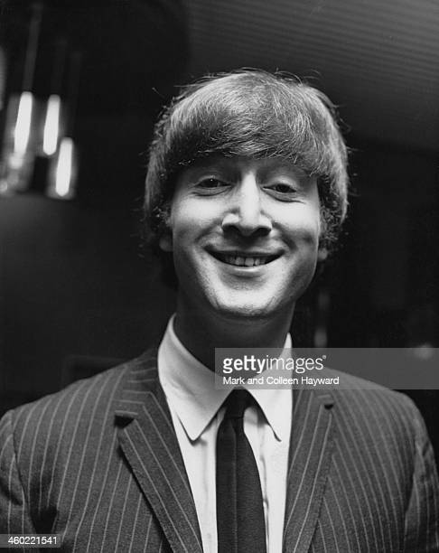 John Lennon from The Beatles posed at the Wimbledon Palais in South London on 14th December 1963